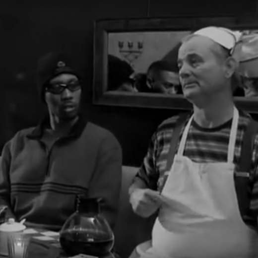 Bill Murray sits at a table with two members of The Wu-Tang Clan drinking coffee from a scene in film Coffee and Cigarettes