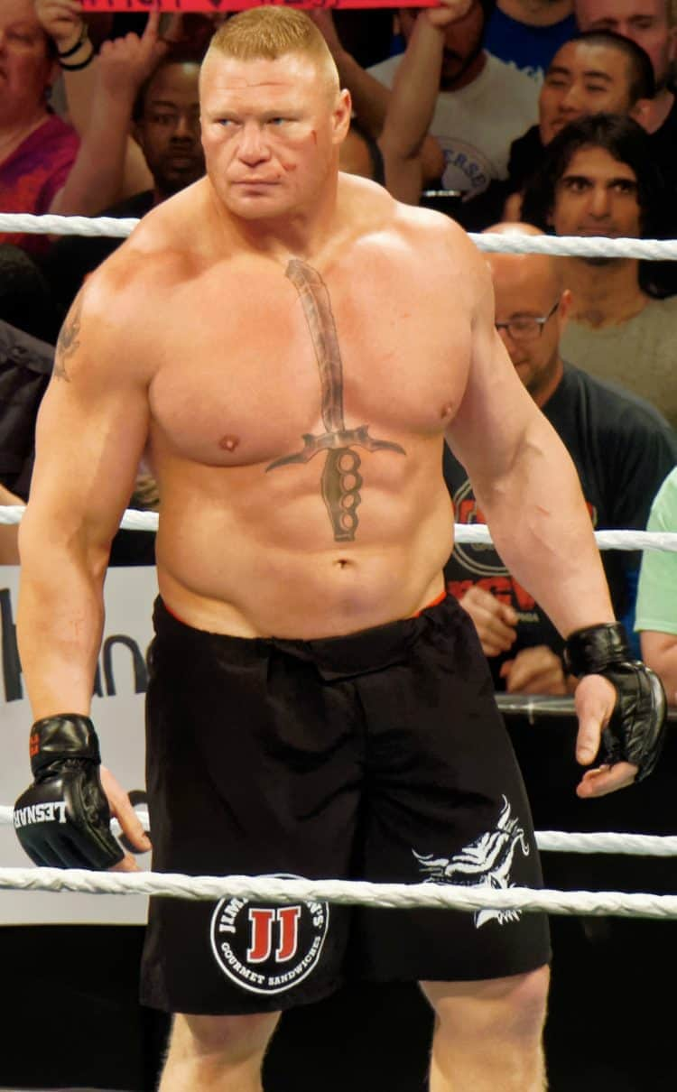 Brock Lesnar inside the octagon ring in a pair black shorts and gloves