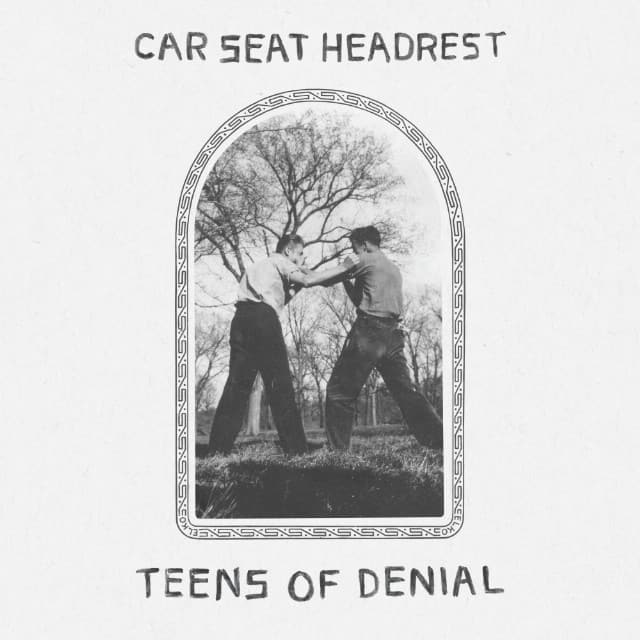 The album cover for teens of denial by Car Seat Headrest, featuring a black and white photo of two teens fighting