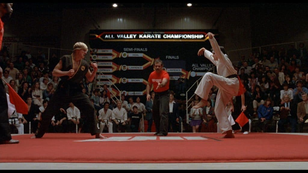 The iconic finale to the film as Daniel standing on one leg performs the crane kick to defeat his nemesis.