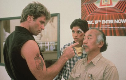 An image from the film as Mr Miyagi confronts John Kreece at his dojo
