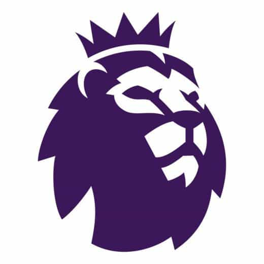 An image of the Premier League logo featuring a purple drawing of lion with a crown on it's head