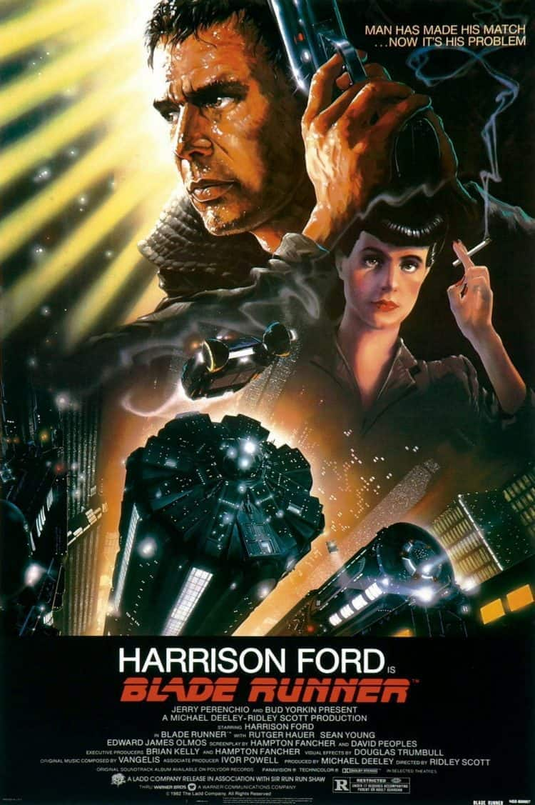 Original Blade Runner film poster featuring Harrison Ford holding a gun