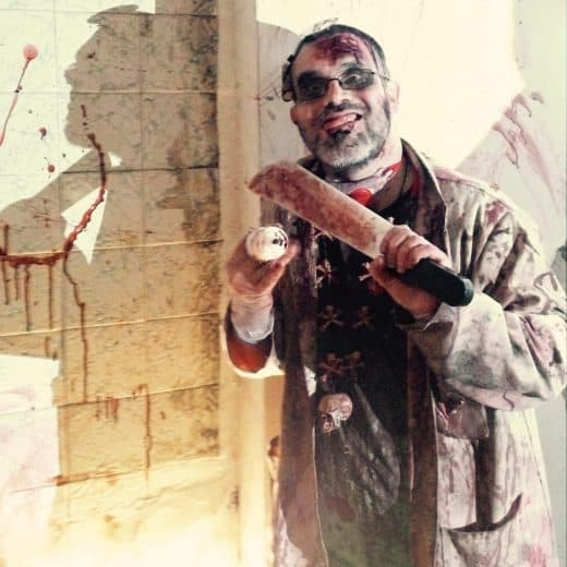 Evil doctor covered in blood from Southport scare attraction Zombie Zoo