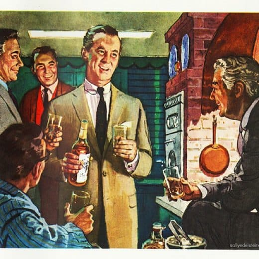 An old picture of men in suits standing round drinking
