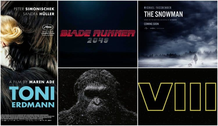 Montage of five film posters including Blade Runner 2046, War For The Planet Of The Apes, The Snowman, Toni Erdmann, Star Wars Episode VIII: The Last Jedi