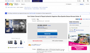 Screengrab of EBAY site auctioning off Kurt Cobain's original guitar