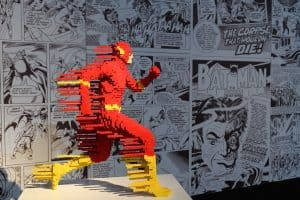 A picture of the LEGO sculpture of superhero The Flash