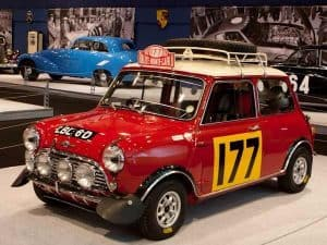 The Monte Carlo Rally winning red Mini Cooper on display in a Museum