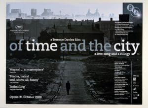 Poster of film Of Time And The City by Terence Davies. A black and white picture of an old desolate Liverpool street probably after the WW2 bombings
