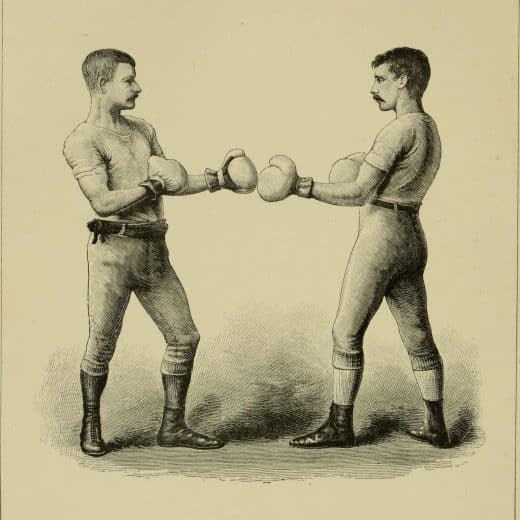 A vintage pencil drawing of two fighting men preparing to box