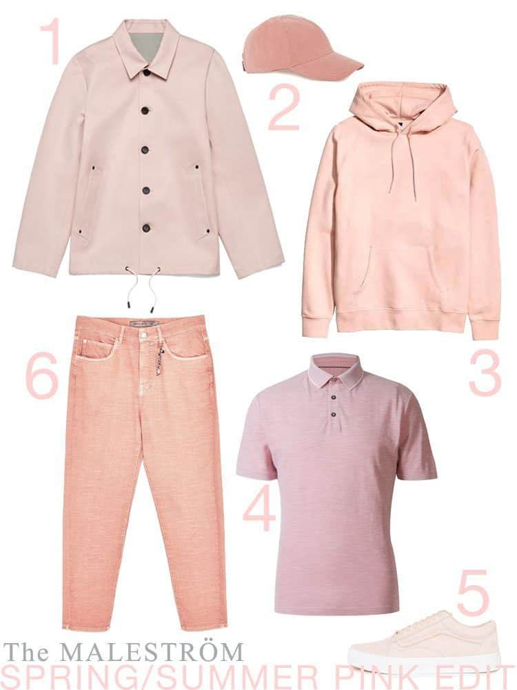 A style edit of 6 articles of men's clothing all in this season's (Spring/Summer) colour of pale pink.