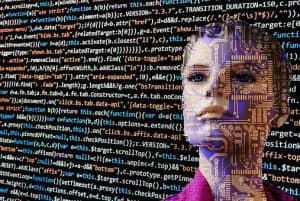 A wall of computer code in different colours sits behind the face of a women with short hair. Her face is overlaid by circuits like she is an android