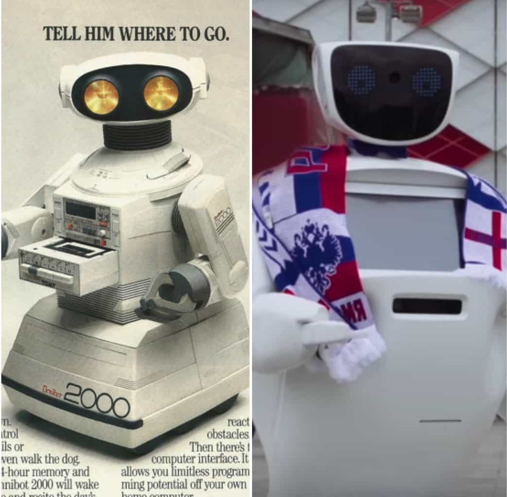 An advertisement for a Tomy Omnibot 2000 and a picture of World Cup robot Allentim