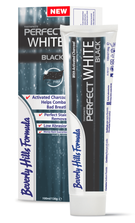 A picture of a tube and box of Beverly Hills Formula Perfect White Black toothpaste