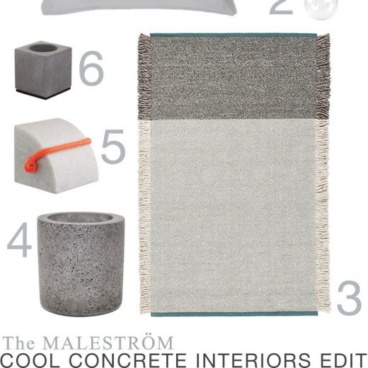 A montage of images of objects made of concrete for an interiors style feature on The MALESTROM. Objects include a concrete doorstop, plant pot and lamp