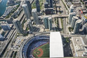 An aerial shot overlooking the Rogers Centre where the Toronto Blue Jays baseball team play