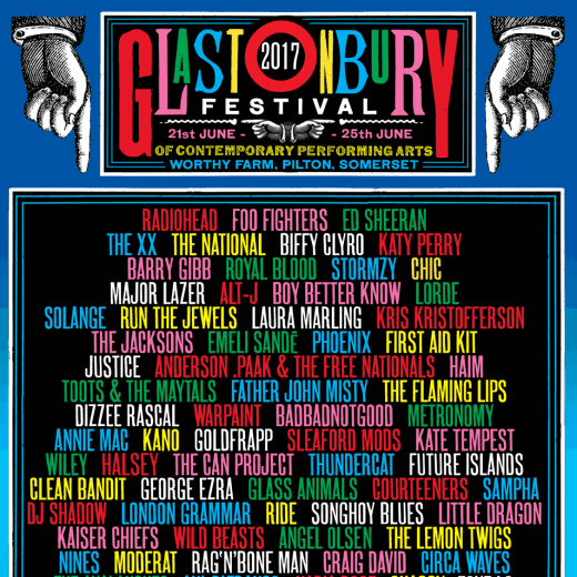 Glastonbury 2017 line up poster