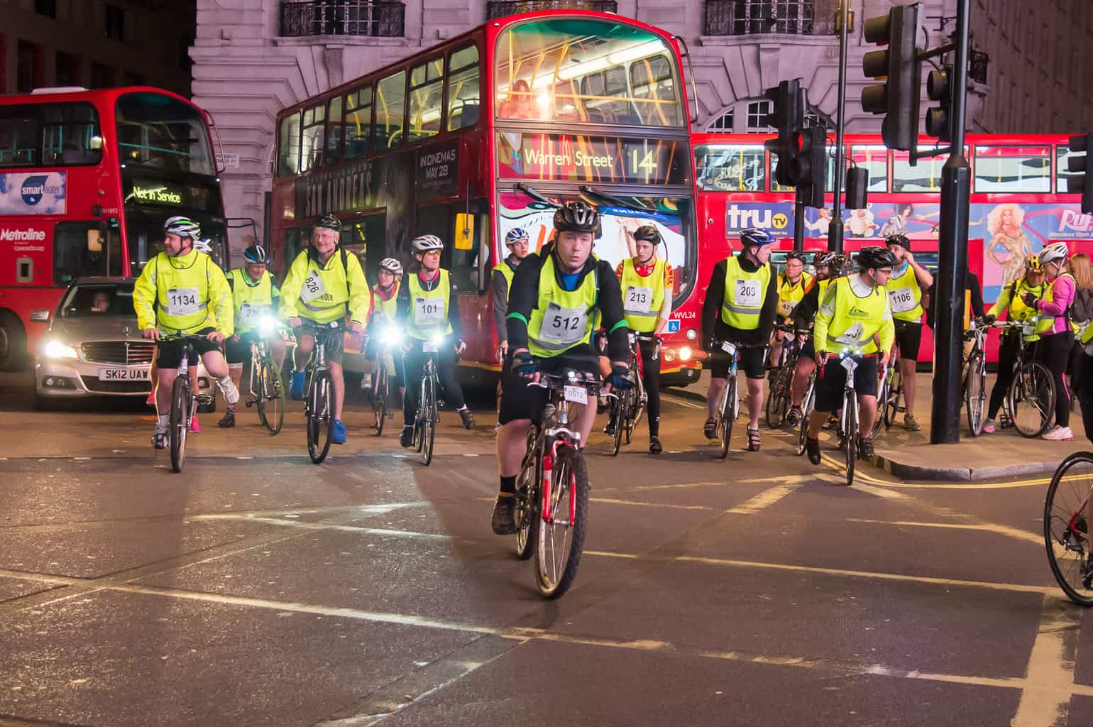 Cyclists in London Nightrider charity event