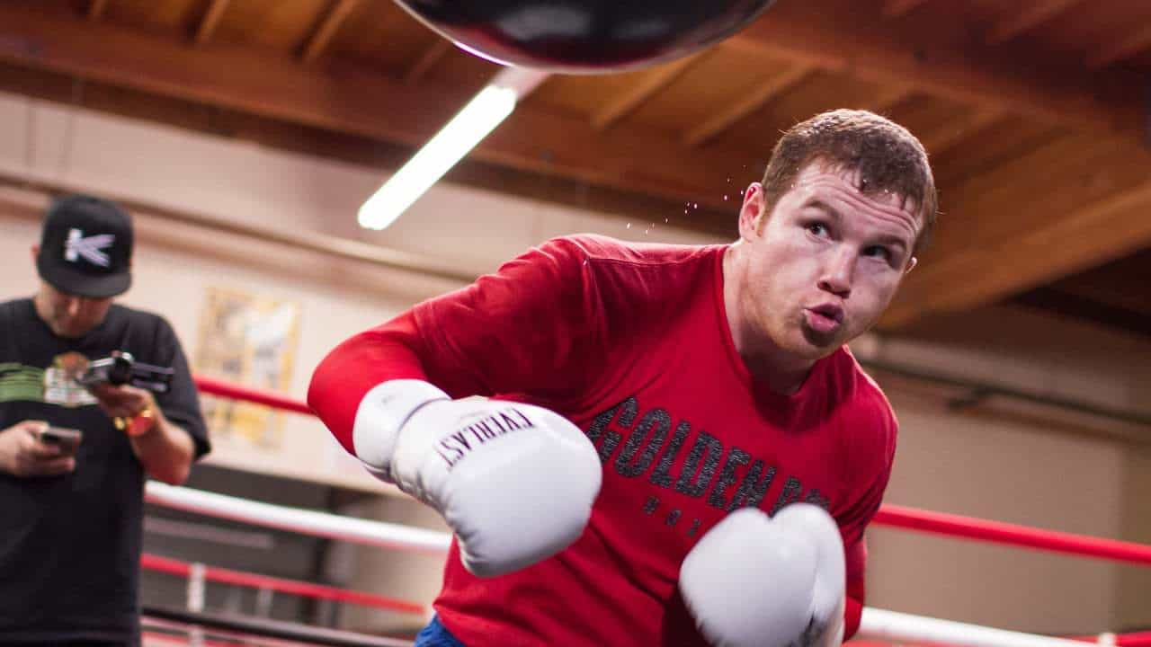 Boxer Canelo Alvarez training in the ring
