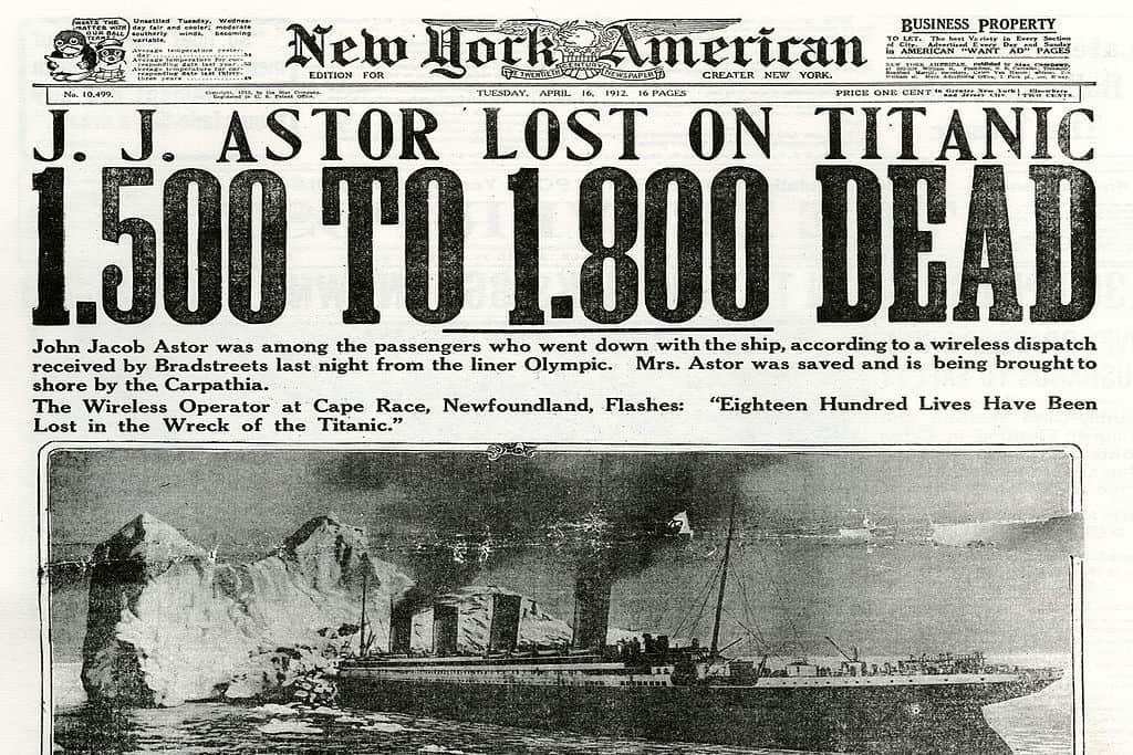 Newspaper headline about The Titanic sinking