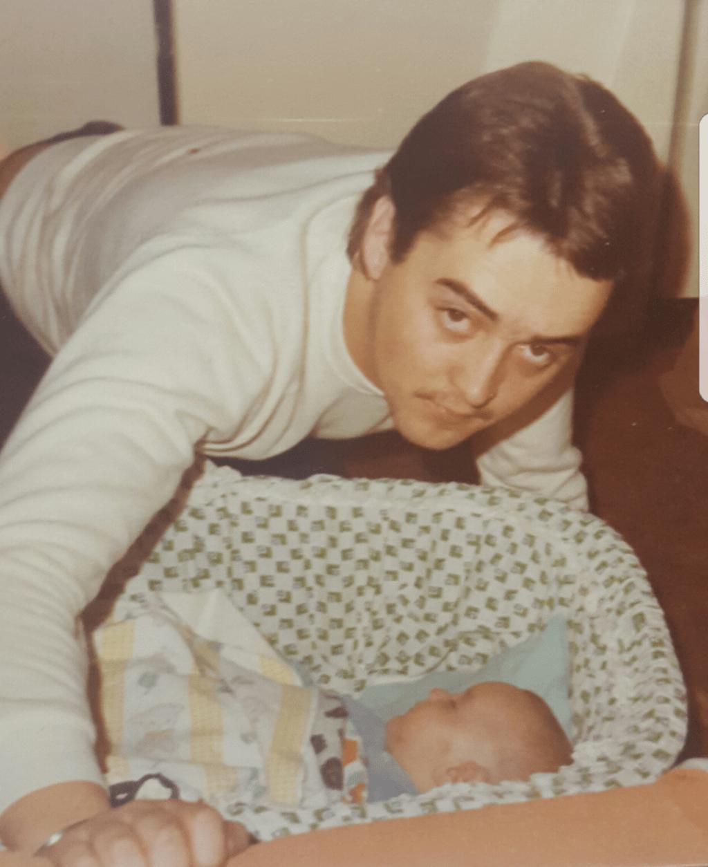 Warren Fellows and a baby Adrian Simon