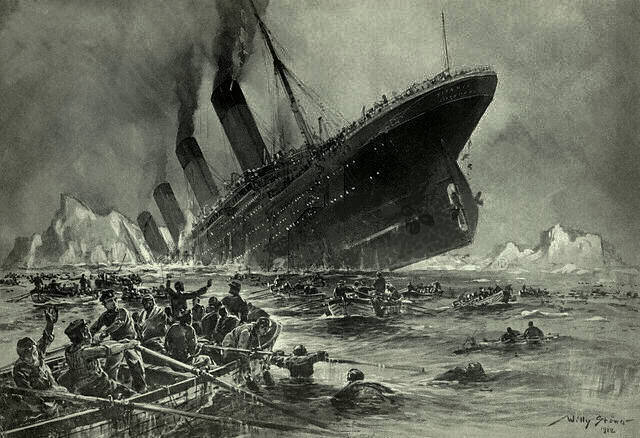 A depiction of the sinking of The Titanic