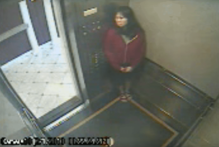 Elisa Lam in the lift at the Cecil Hotel