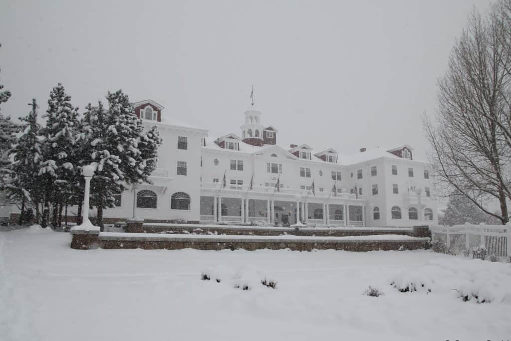 The Stanley hotel in the snow