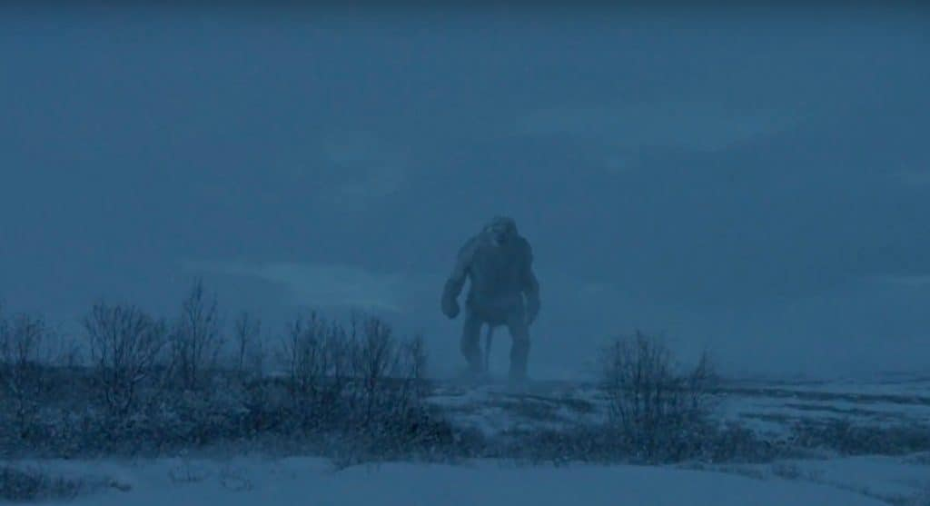 A ginat troll in an icy field