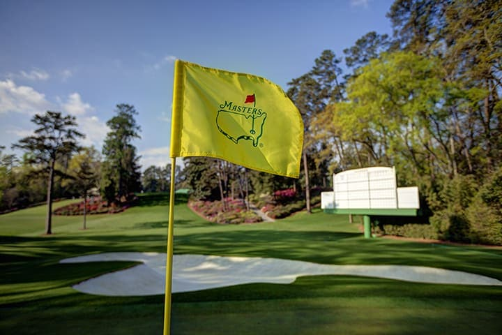 A Masters flag blowing in the wind