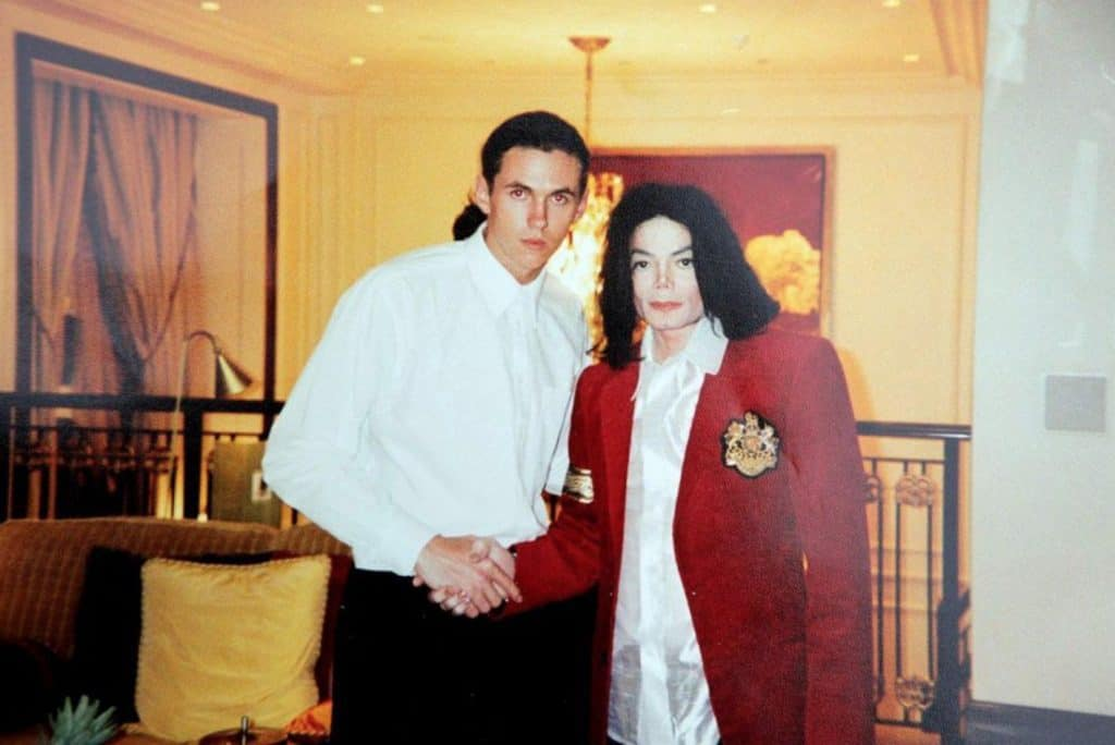 Matt Fiddes shaking hands with Michael Jackson