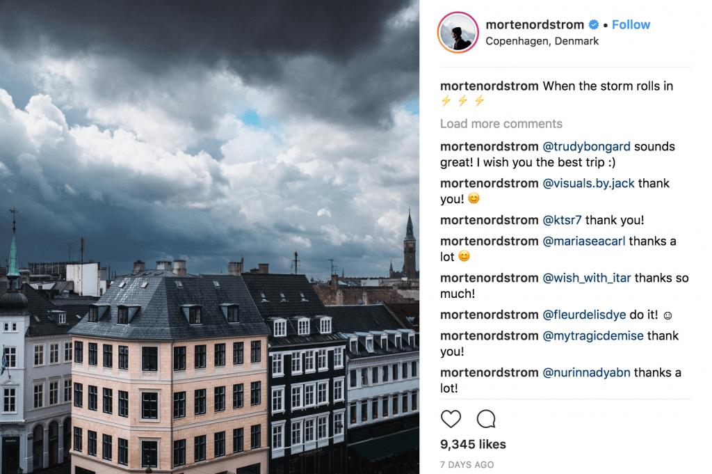 Instagram account @mortenordstrom