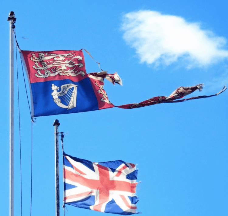 Tattered flag representing Brexit
