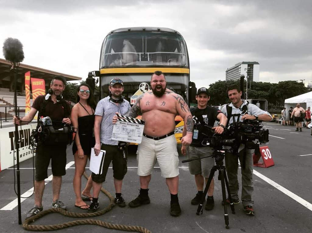 Strongman Eddie Hall with Channel 5 film crew