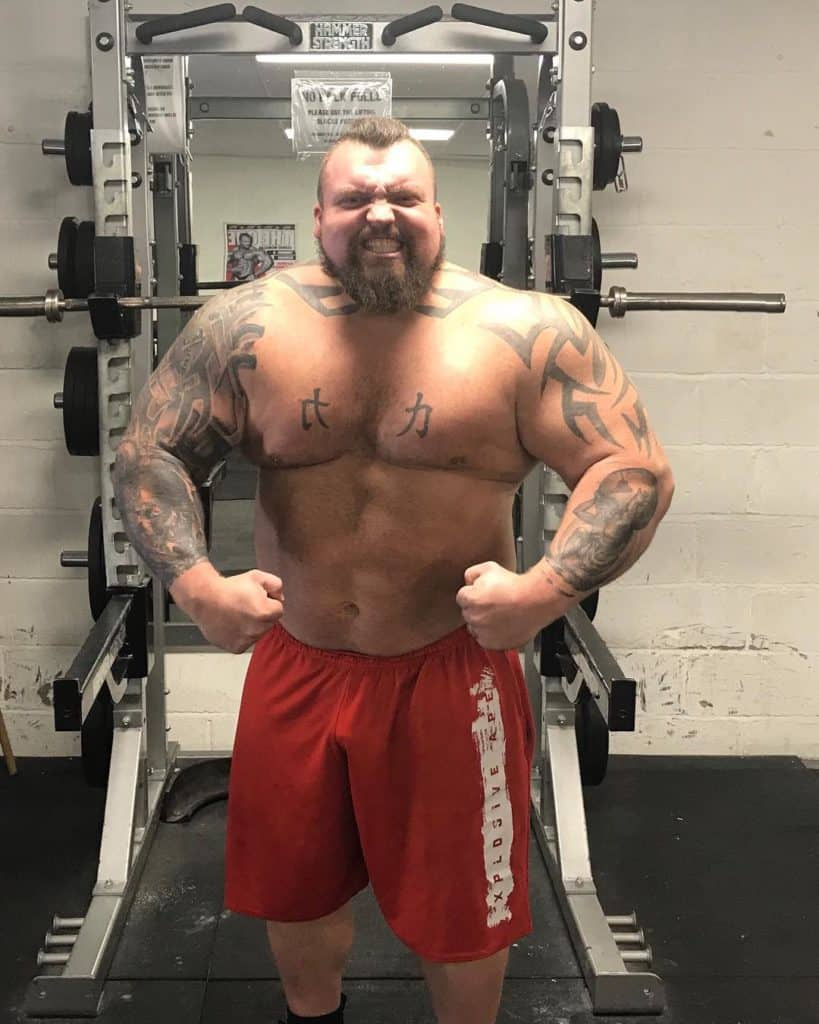 Strongman Eddie Hall posing for camera