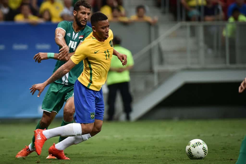 Gabriel Jesus in action for Brazil