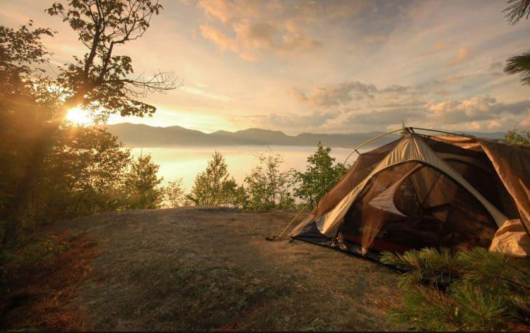 Camping scene by lake