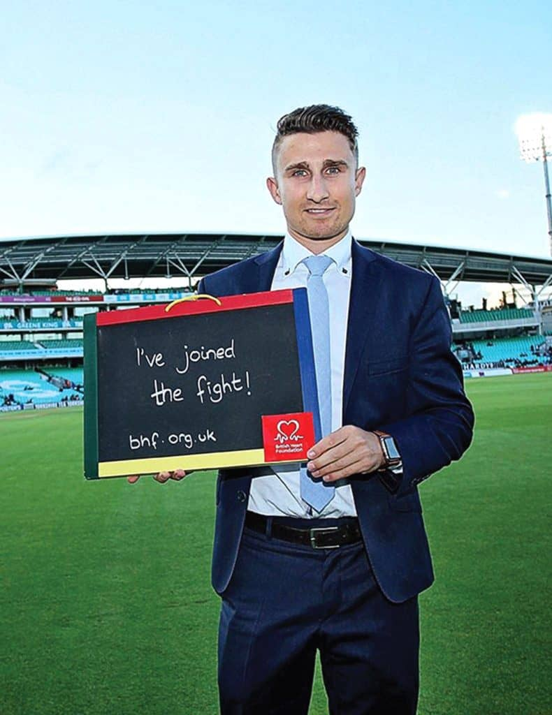 Cricketer James Taylor supporting the British Heart Foundation