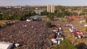 Crowds of people in Brockwell Park