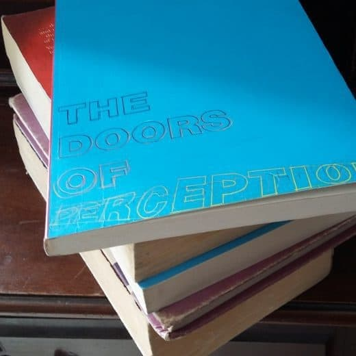 A pile of books sits on a wooden dressing table. The top book is titled 'The Doors Of Perception'