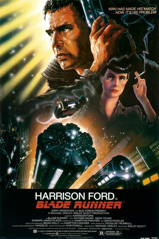 Original Blade Runner film poster featuring Harrison Ford holding a gun