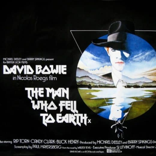 The iconic film poster of The Man Who Fell To Earth featuring David Bowie
