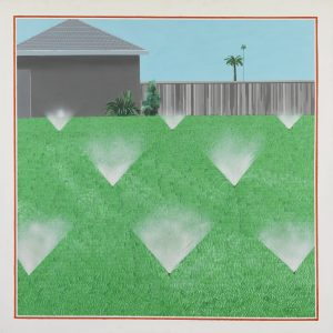"""Picture of a painting by David Hockney titled """"A Lawn Being Sprinkled"""" 1967. Acrylic on canvas 60 x 60"""" © David Hockney Photo Credit: Richard Schmidt"""