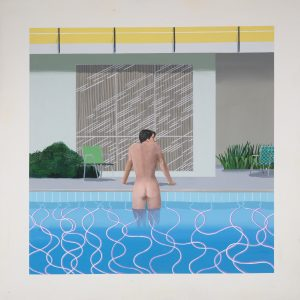 """Painting by David Hockney titled """"PETER GETTING OUT OF NICK'S POOL"""" 1966. ACRYLIC ON CANVAS 84 X 84"""" © DAVID HOCKNEY COLLECTION: WALKER ART GALLERY, LIVERPOOL PHOTO CREDIT: RICHARD SCHMIDT"""
