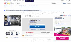 Screengrab of EBAY site auctioning off Kurt Cobain's original guitar