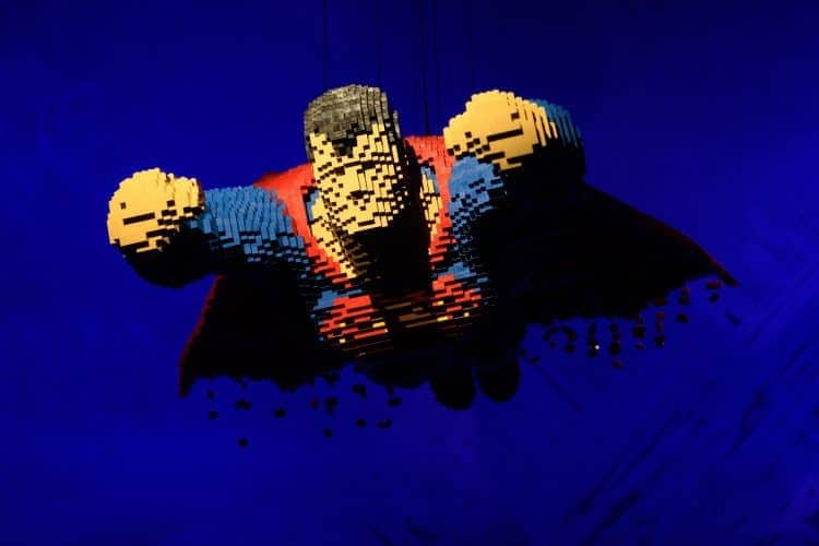 LEGO sculpture of Superman from London, UK. 28.02.2017. THE ART OF THE BRICK: DC SUPER HEROES - Artist Nathan Sawaya returns to London with the world's largest LEGO exhibition, inspired by Batman, Superman, and Wonder Woman. The exhibition opens, in a purpose-built marquee in Doon Street car park, Upper Ground, on the South Bank. Photograph © Jane Hobson.