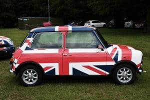 A mini emblazoned with the Union Jack Flag