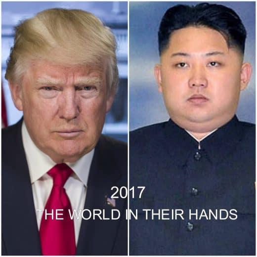 Tromp & Kim Jong Un split screen