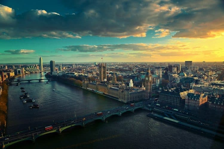 A picture of the London Skyline with Westminster Bridge in the foreground